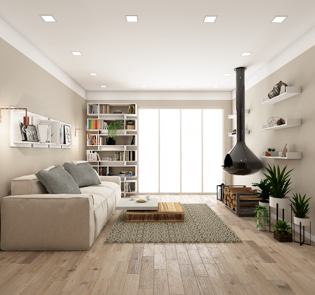 Гостиная-каминная комната Идея #4